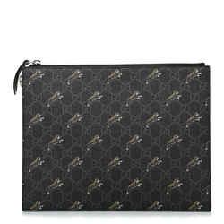 Gucci Black GG Supreme Monogram Tiger Print Pouch Wristlet Clutch Bag 575136