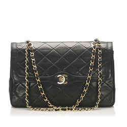 Black Chanel CC Lambskin Leather Flap Bag