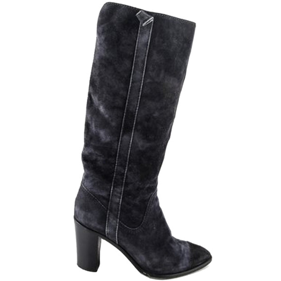 Chanel Suede Boots Black Size 9 Authenticity Guaranteed