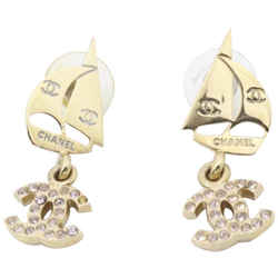 Chanel 02s Pink Crystal CC Gold Tone Sailboat Earrings Pierce Pierced 861808