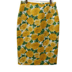 Michael Kors Yellow Floral Cotton Skirt Sz 8