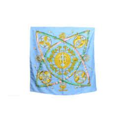Authentic Hermes 100% Silk Scarf Daimyo Princes Du Soleil Levant Blue Faconnet Vintage 90cm Carre