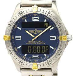 Polished BREITLING Aerospace 18K Gold Titanium Quartz Mens Watch F65062 BF522668