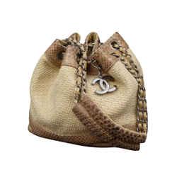 Chanel Raffia Straw And Python Chain Drawstring Bucket Bag 234444