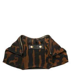 Alexander McQueen Black/Brown Leopard Print Canvas Medium De Manta Clutch