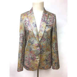 ZADIG & VOLTAIRE DELUXE Purple/Multicolor Floral-Textured Cotton-Blend Dress Jacket