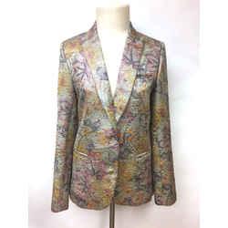ZADIG & VOLTAIRE DELUXE Purple/Multicolor Floral-Textured Cotton-Blend Dress Jacket