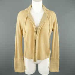 Y's By Yohji Yamamoto Size M Beige Wool Blend Tie Collar Cuffed Cardigan Sweater