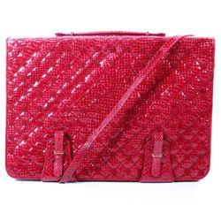 Judith Leiber - Snakeskin Attache Large Briefcase Shoulder Messenger Red Bag