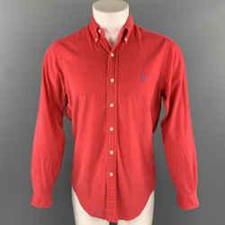 RALPH LAUREN Size S Red Corduroy Button Down Long Sleeve Shirt
