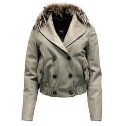 Brunello Cucinelli Grey Leather Fox Collar Jacket