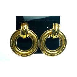 Chanel Hammered Gold Drop Hoop Jumbo xl CC 11ca523
