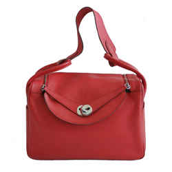 HERMES RED ROUGE CASAQUE TAURILLION CLEMENCE LEATHER LINDY 34 BAG