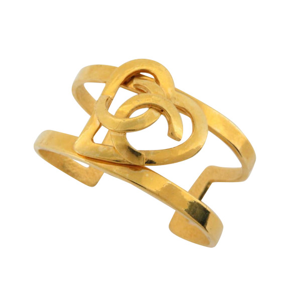 Chanel 95p Heart Bangle Bracelet Cuff 869440