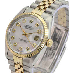 White Mop Mens Datejust Diamond Dial Fluted Bezel 36mm-quickset Watch
