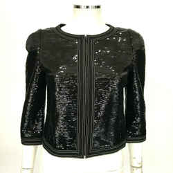 "$5400 Chanel Black Sequin Jacket  Keira Knightly ""little Black Jacket""  8 Fr 40"