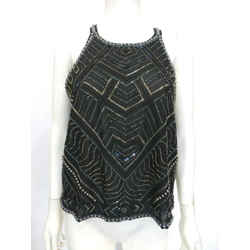 Parker Black Multi-color Beaded  Halter Top Sz Xs Eu 38