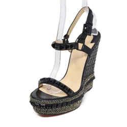 Christian Louboutin Black Leather Gold Lurex Platform Sandals Sz 38