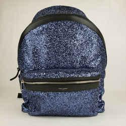 Saint Laurent Blue Glitter Fabric Large Backpack Black Leather Trim 534967 4378