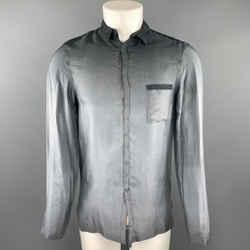 Emporio Armani Size M Grey Ombre Cupro Hidden Buttons Long Sleeve Shirt