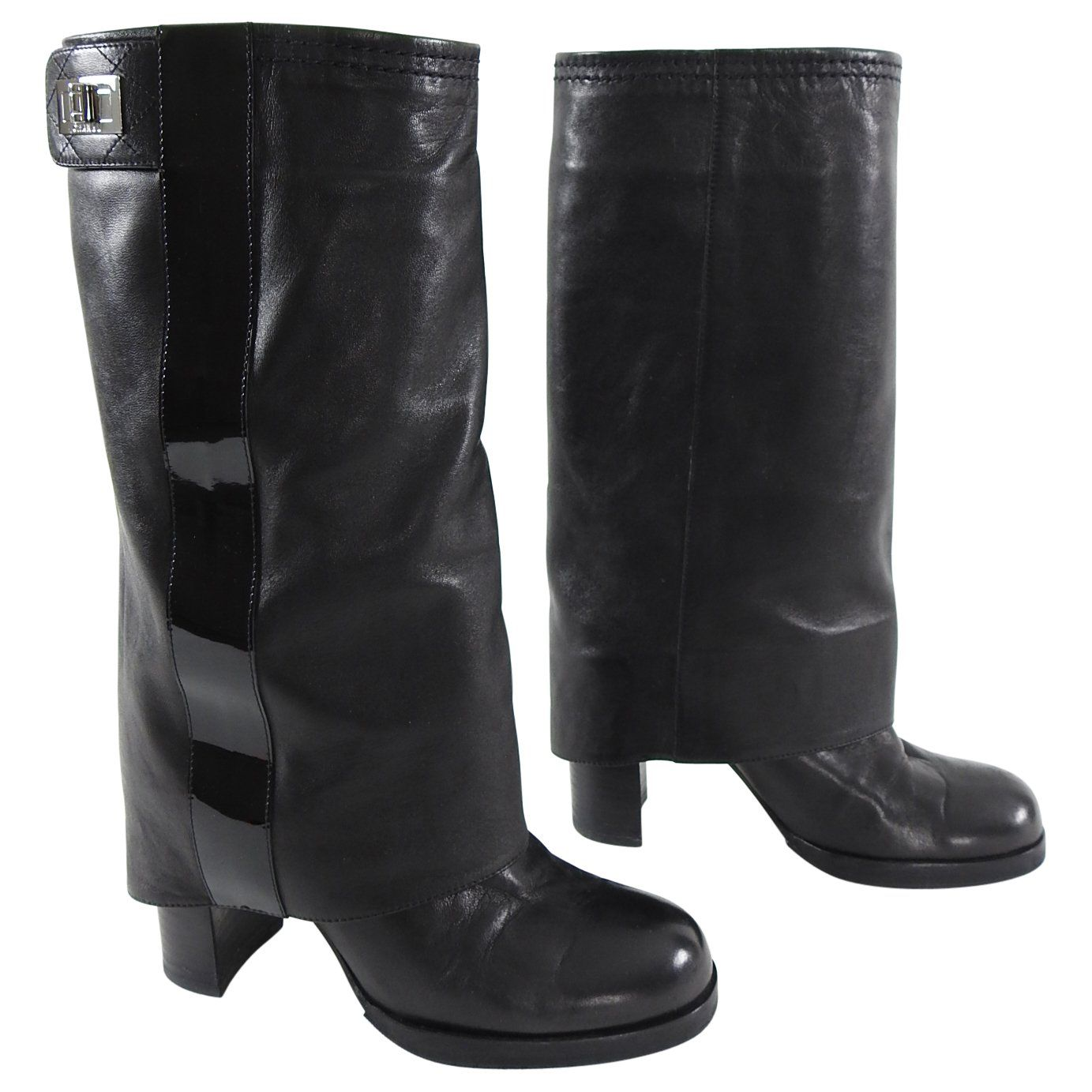 Patent Reissue Mid Calf Boots - 6