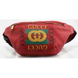 Gucci GG Men Gucci Print Leather Belt Bag