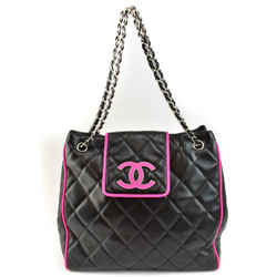 "CHANEL ""Cambon"": Black, Leather & Hot Pink ""CC"" Logo Shoulder/Tote Bag (mx)"