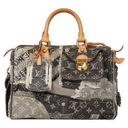 Louis Vuitton Ultra Rare Grey Monogram Denim Patchwork Speedy 30 861838