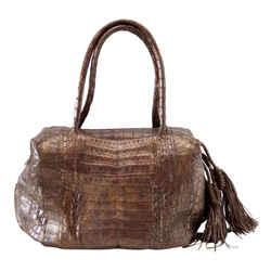 Nancy Gonzalez Bag Warm Brown Bronzed Wash Crocodile Roomy Shoulder