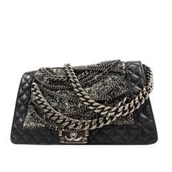 Chanel Black Tweed Boy Enchained Medium Chain Flap 234201