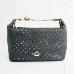 Coach Perforated 53215 Women's Leather Handbag Navy,Off-white BF527838