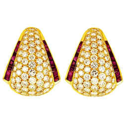 VAN CLEEF & ARPELS Diamond Ruby 18k Yellow Gold Earrings