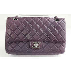 Chanel Lambskin Quilted Medium Double Flap  - Dark Purple