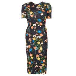 ERDEM Black Multi Jersey Floral Print Short Sleeved Cocktail Dress