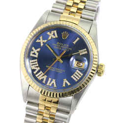 Rolex Mens Datejust Two-tone Blue Roman Diamond Dial Fluted Bezel 36mm Watch