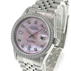 Rolex Men's Watch 36mm Datejust Stainless Steel Pink MOP Diamond Diamond Bezel