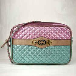 Gucci Metallic Pink/green Quilt Leather Metal Gg Logo Crossbody Bag 541061 5879