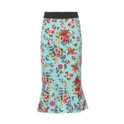 New Rose Floral Print Peplum Skirt