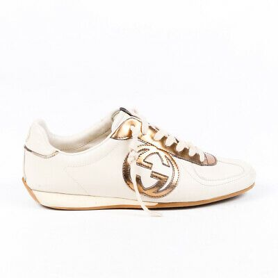 Gucci Sneakers Cream Gold Leather GG