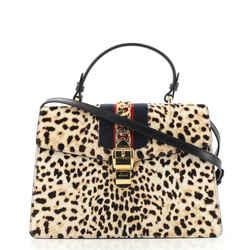 Sylvie Top Handle Bag Printed Calf Hair Medium
