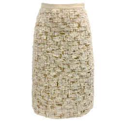 Oscar de la Renta Cream Sequin Textured Skirt