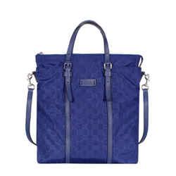 Gucci Zip Top Guccissima Navy Blue Detachable Strap Gg Nylon Tote Handbag