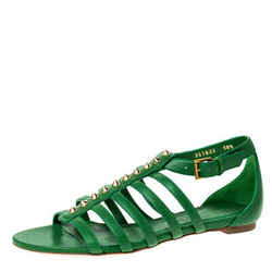 Alexander McQueen Green Leather Spike Detail Flat Gladiator Sandals Size 38.5