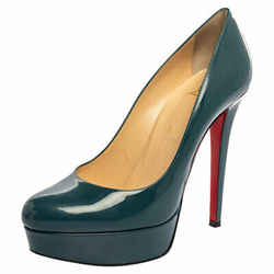 Christian Louboutin Tale Green Patent Leather Bianca Platform Pumps Size 38.5