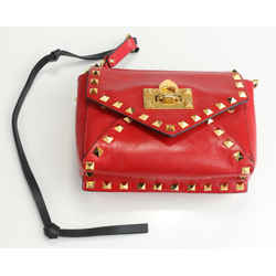 Valentino Garavani Small Rockstud Hype Smooth Calfskin Shoulder Bag - Red
