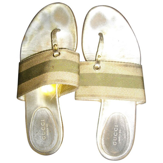 Light Gold Olive Green Gucci Flat 7.5 Thong Canvas Casual Sandals