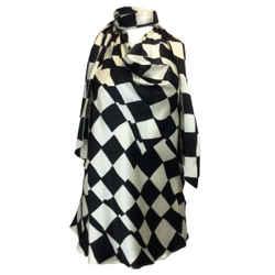 Oscar de la Renta Black & Ivory Harlequin Print Sleeveless Silk Blouse