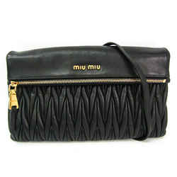 Miu Miu Materasse RP0385 Women's Leather Clutch Bag,Shoulder Bag Black BF514277