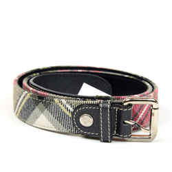 Woven Plaid And Leather Belt
