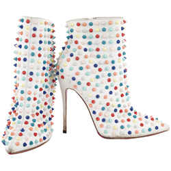 Christian Louboutin Size 37.5 Multicolor Spike Snakilta 120 Ankle Booties 423cl31